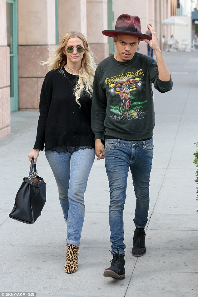 In sync: Evan Ross and Ashlee Simpson decided to go for matching outfits as they stepped out in Beverly Hills on Monday