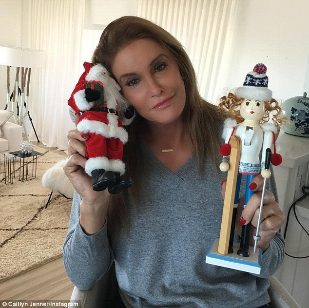 Happy holidays! Caitlyn Jenner uploaded a photo of herself holding a Santa toy and another Christmas ornament