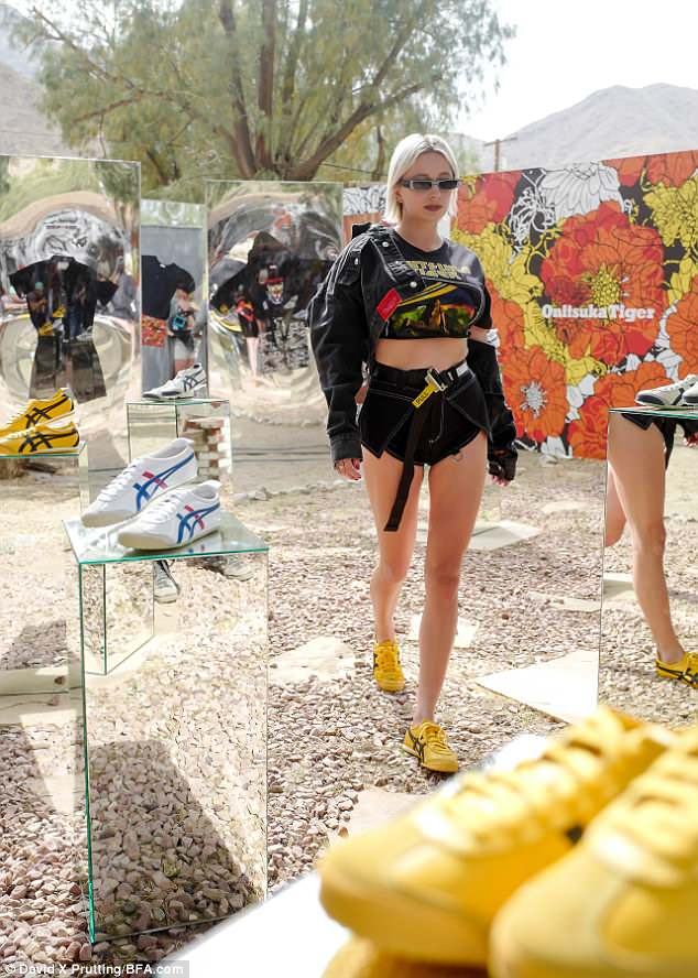 Best foot forward: Caroline Vreeland was head to toe in Onitsuka Tiger