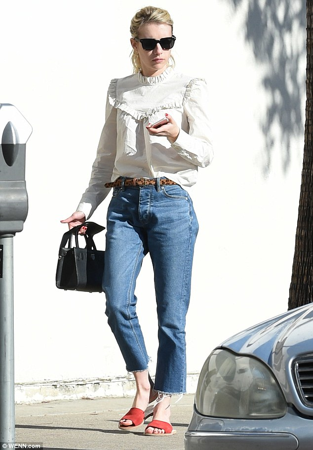 Always on the go: Emma Roberts stopped by popular LA restaurant on Sunday, Joan's On Third, as she donned a casual and chic ensemble