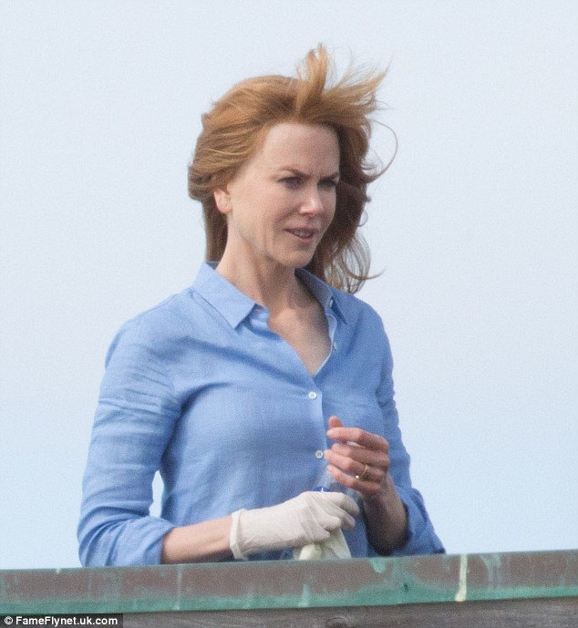 Fresh-faced: Nicole Kidman was spotted looking fresh-faced as she filmed scenes on the Monterey set of her new series Big Little Lies in California