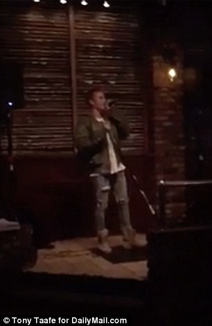 Great Balls of Fire: Drinkers at the Residuals tavern in Studio City, California, were treated to a rendition of the Jerry Lee Lewis classic by Bieber