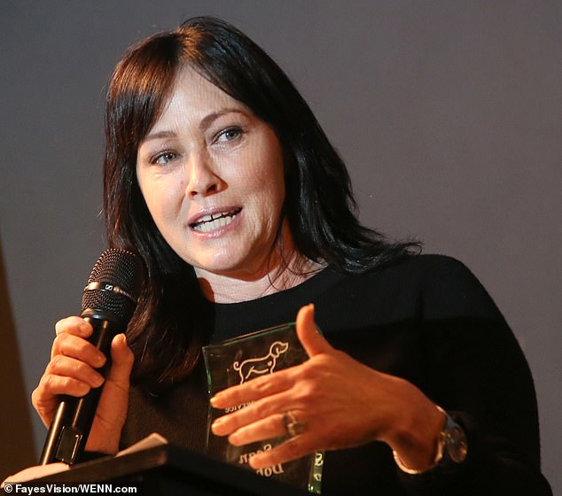 Sad times:Shannen Doherty will 'start crying' if she talks about Luke Perry's hospitalization she said on Sunday at The Animal Hope & Wellness Foundation's 2nd Annual Compassion Gala in Culver City, California
