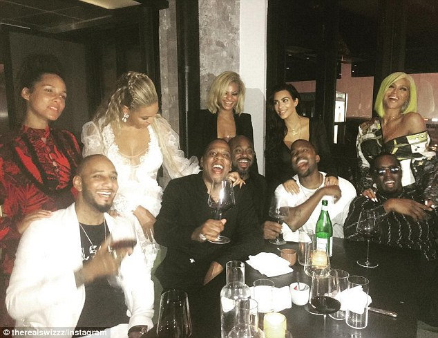 Could have been here: On the other side of the U.S., possibly the most epic dinner party was unfolding in Manhattan's Little Itlay with (front row left to right) Swizz Beatz, Jay Z, Steve Stoute, Kanye West and Puff Daddy; and (back row left to right): Alicia Keys,Beyoncé, Lauren Branche; Kim Kardashian and Cassie