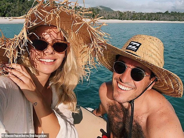 Flashback: The couple have been spending plenty of time in the Whitsundays lately, taking a boat out on Whitehaven Beach just last week