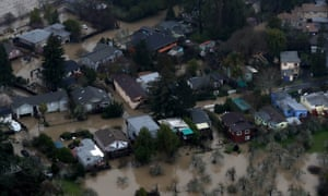 A neighborhood sits in floodwaters near Guerneville.