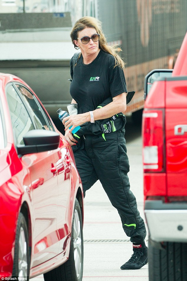 The 66-year-old reality star changed out of her pink blouse and jeans before changing into her black leather driving gear, which matched her heavily bearded son's get up.