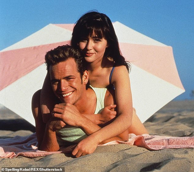 The good ole days: Doherty and Perry in a scene for 90210 in the early 90s