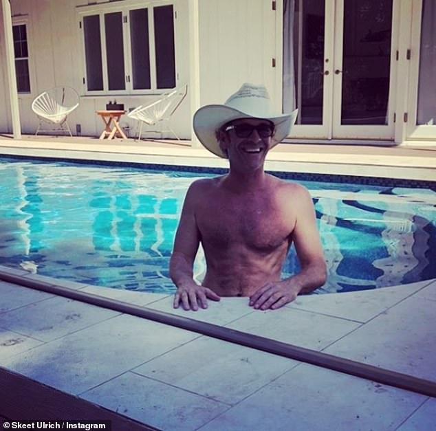 Words of wisdom: Skeet Ulrich, who plays F.P. Jones, posted a shirtless photo of a beaming Luke swimming a pool and captioned it: 'Waiting for ya brotha!! Someone has to man the grill for me'