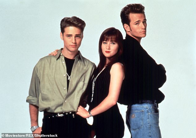 Dreamy cast: Here Shaneen is flanked by Perry, right, and Jason Priestley, left