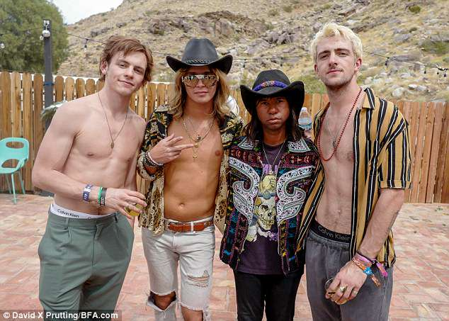 I'm with the band: Ross Lynch, Jacob DeKat, Prince Chenoa, Rocky Lynch at the Onitsuka Tiger x Galore event