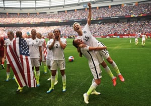 Rapinoe celebrates after winning the 2015 Women's World Cup in Vancouver.