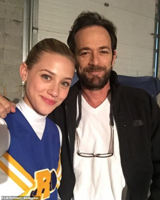 Recovery: Cole's off-screen girlfriend and fellow co-star Lili Reinhart, who plays Betty Cooper, shared a selfie with the actor and wrote: 'Thinking of you, Luke. And praying for your safe recovery'