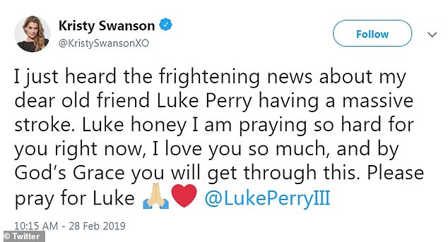 'By God's Grace you will get through this': Kristy Swanson was among those who took to Twitter to share her support as she said  that she is praying for Perry to pull through