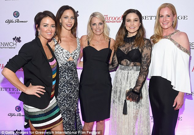 Girls night out: From left, GIFF executive director Wendy Reyes, President Bush's daughter Barbara, publicity rep Ginger Stickel, Sophia and actress and GIFF programming director Colleen deVeer at the opening gala in Greenwich, Connecticut on Friday