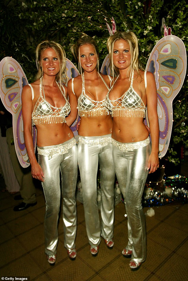 Kelly, a former Playboy Playmate who was part of the famous Dahm Triplets, has teamed up with legendary skateboarder to open the restaurant. She is seen above left with sisters Erica and Jaclyn in a 2002 photo